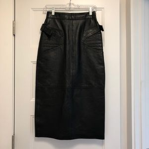 Vintage Black Leather Pin Up Skirt - Size XS